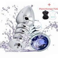 Electric Shock + Kryształ Biżuteria Spiralne Metalowe Kulki Analne Masaż Prostaty Plug Analny Sex Zabawki Erotyczne Dla Mężczyzn/kobiety Seks Produkty