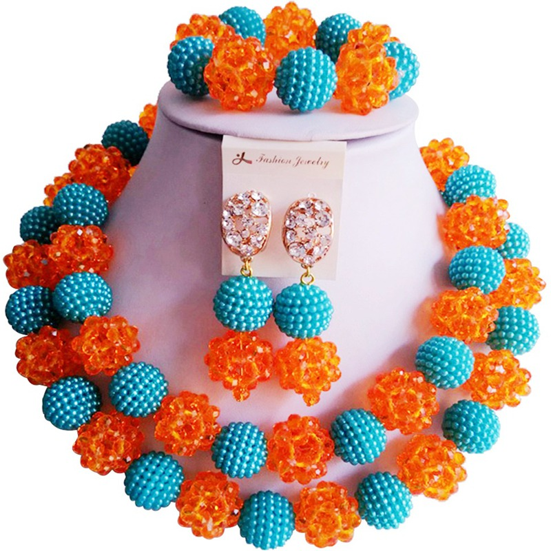 Pretty Lake Blue Orange African Style Women Anniversary Crystal Necklace Jewelry Sets 2C ZZSJ 59