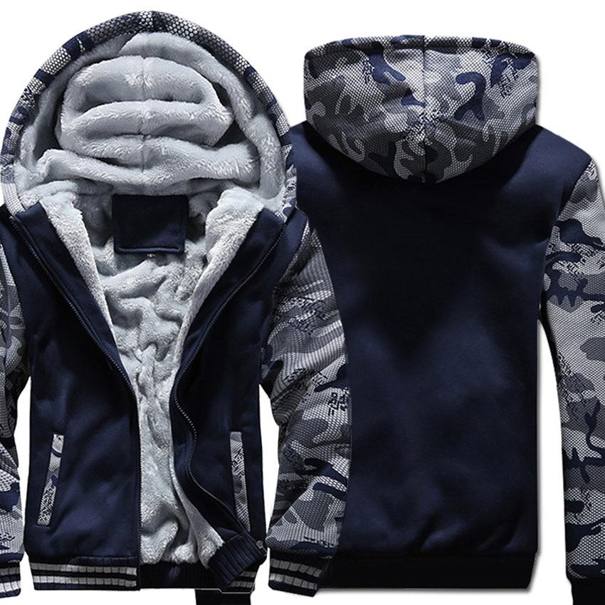 A0101 Solid Color Hoodie Men Zipper Hooded Sweatshirt Coat Winter Thick Fleece Warm Plus Size 5XL Streetwear Camouflage Jacket