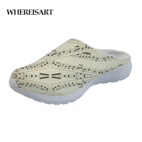 WHEREISART 2019 Female Sheet Music Pattern Summer Slippers Slip on Comfortable Mesh Flats Ladies Slippers Sandals Woman Beach