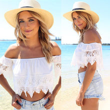 Free Ostrich Fashion Cotton crop top Sexy Fashion Women Boho Lace White Blouse Off Shoulder Crop Shirt Tops Blusas Camisas Mujer(China)