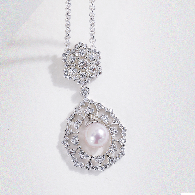 Sterling Silver Jewelry Antique Palace Hollow Pendant Necklces With Pearl For Women