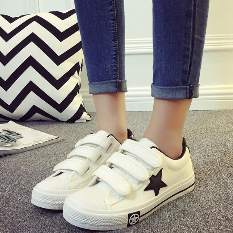 HOT 2017 Preppy Style New Autumn High Platform Canvas Shoes for Women s Breathable Hook Loop