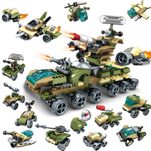 Compatible Legoing 12in2 Military Armored Chariot fighter toys car Helicopter tank Building Blocks Toys for Children army bricks