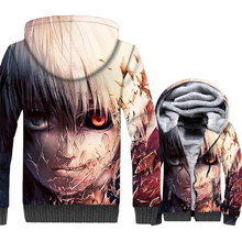 Japan Anime Tokyo Ghoul Jacket Men Kaneki Ken Hoodie Winter Thick Fleece Warm Zip up 3D Print Coat Harajuku Sweatshirt Homme 5XL