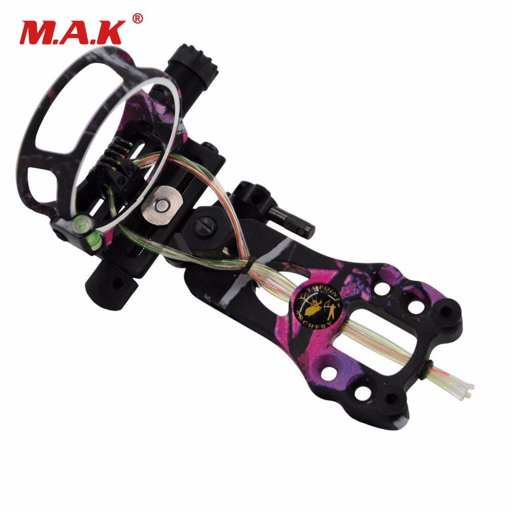 5 Pins 0.019 Compound Bow Sight with Micro Adjust Detachable Bracket TP6550-CAMO for Compound Bow Hunting Archery 4 color compound bow sight 1 pin 0 019 with quickly adjust detachable bracket tp9510 camo for hunting shooting archery