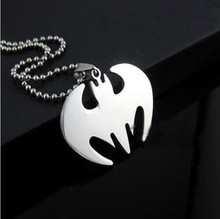 50 cm Bat Batman Necklace Stainless Steel Pendant Necklaces Leather Chain Fashion Men Women Jewelry Gifts(China)
