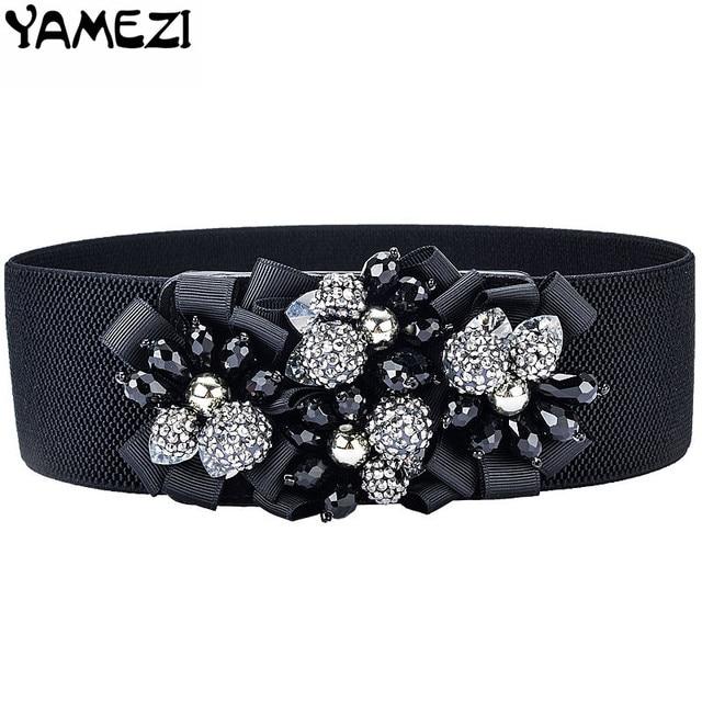 YAMEZI Mode fait main fleurs femmes ceinture élastique ceinture largeur ceinture  femme ceinture strass avec bracelet 5fcf78b0349