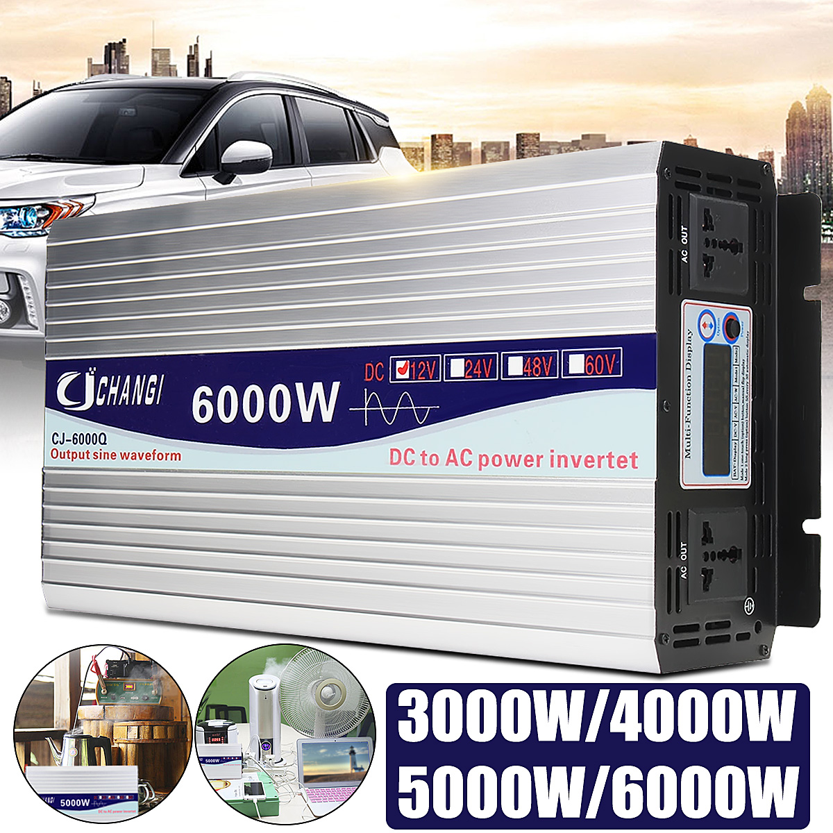 3000/4000/5000/6000W Portable 12V to AC 220V Power Solar Inverter Pure Sine Wave Converter Adapter LCD Screen 93% Conversion
