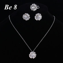ebdf2c458 Aliexpress.com : Buy Be8 Brand Luxury Women's Jewelry Sets Inculding1 Pair  Floral CZ Stud Earrings & 1 Flower Chain Pendant Necklace & Ring S 017 from  ...
