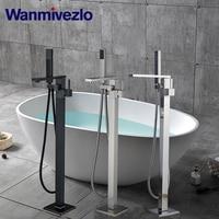 Ванной кран напольные ванной кран Ванная комната Душ смеситель горячей и холодной воды кран с светодиодный Ванна Нажмите