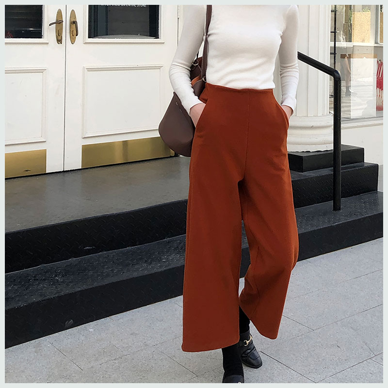 Wide     Leg     Pants   Women Elegant Female Trousers 2018 Autumn Winter New Style Woolen High Waist Loose Casual Ankle-length   Pants