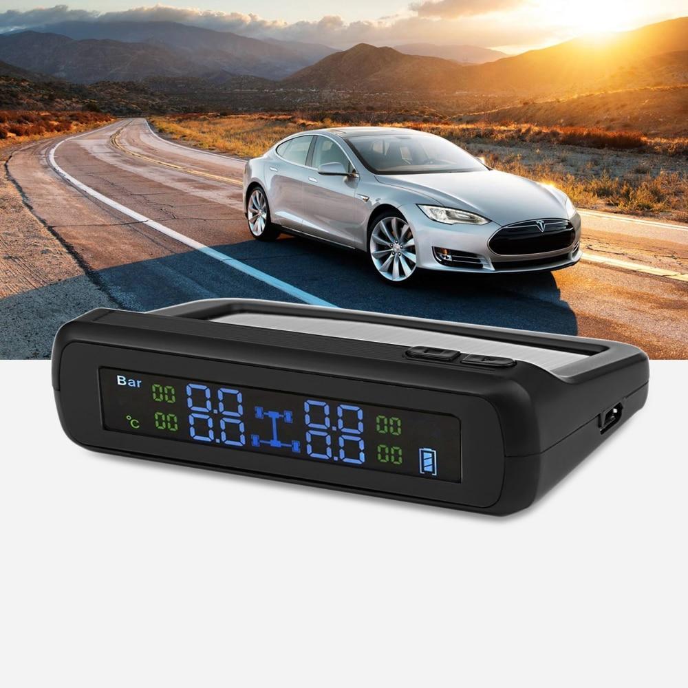 CAREUD TPMS T881-WF système de surveillance de la pression des pneus de voiture à affichage LCD à énergie solaire avec quatre capteurs externes sans fil Auto Alar