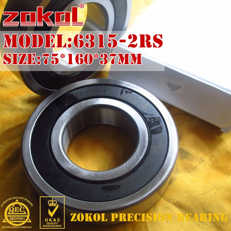 ZOKOL 6315-2RS bearing 6315 2RS 180315 Deep Groove ball bearing 75*160*37mm 100pcs 6700 2rs 6700 6700rs 6700 2rz chrome steel bearing gcr15 deep groove ball bearing 10x15x4mm