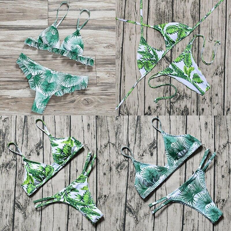 ZTVitality Sexy Swimsuit mujer Bikini 2019 nueva llegada playa hoja estampado Patchwork cintura baja traje de baño mujer brasileño Biquini