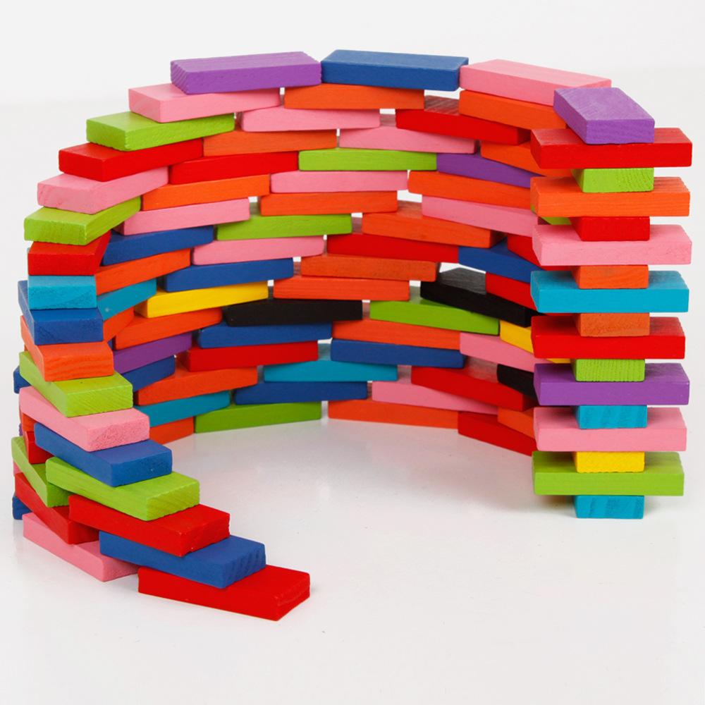 (100 pieces/lot) Fun Multicolor Wood Assemblage Domino Brain Game Toys for children Models & Building Toy Kids Blocks toy GH226