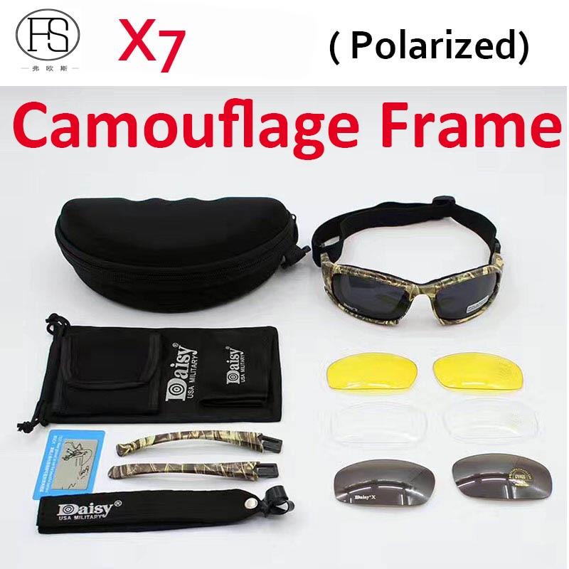 Prix pour Bonne Qualité Daisy X7 Militray Polarisées lunettes de Soleil Tactique UV400 Protection Lunettes Anti-impact Gogglees Camouflage Cadre