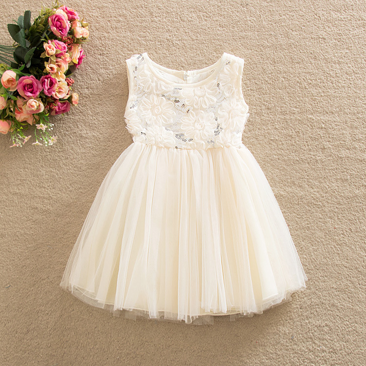 купить Sequined Flower Prom Party Princess Ball Gown Formal Mini Girl Dress Infant Girls kid Pageant Dresses Bridesmaid Clothing Summer дешево