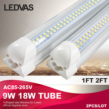 LEDVAS 9W 18W T8 integrated LED tube Fluorescent 30cm 60cm 2ft 110v 220v AC85-265V high quality 0.6m Factory direct sale 2-Pack