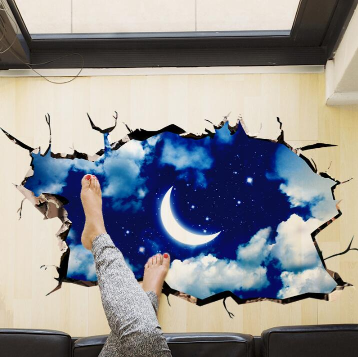 2016 New 3D Outer Space Wall Sticker Moon Stars Planet Wall Stickers For  Kids Rooms Sky Smashed ... Part 83