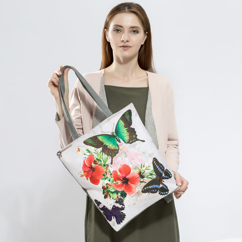 Butterfly Printed Casual Tote Large Capacity Female Handbags Single Shoulder Shopping Bags Daily Use Women Canvas Beach Bag 1
