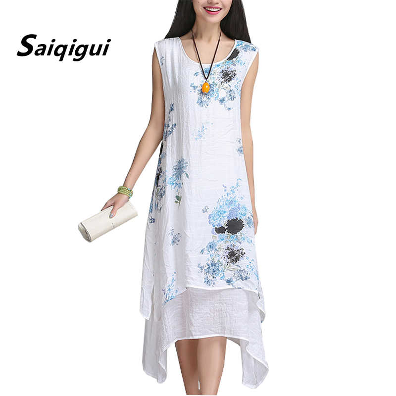 Saiqigui китайский стиль летнее платье без рукавов женское платье  повседневное хлопковое льняное платье с принтом с 2f7f8ea91ae
