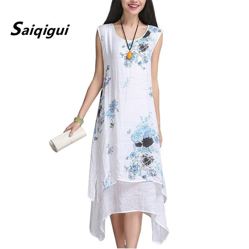 1448cbea04ab7a5 Saiqigui китайский стиль летнее платье без рукавов женское платье  повседневное хлопковое льняное платье с принтом с круглым вырезом Большие  ра.