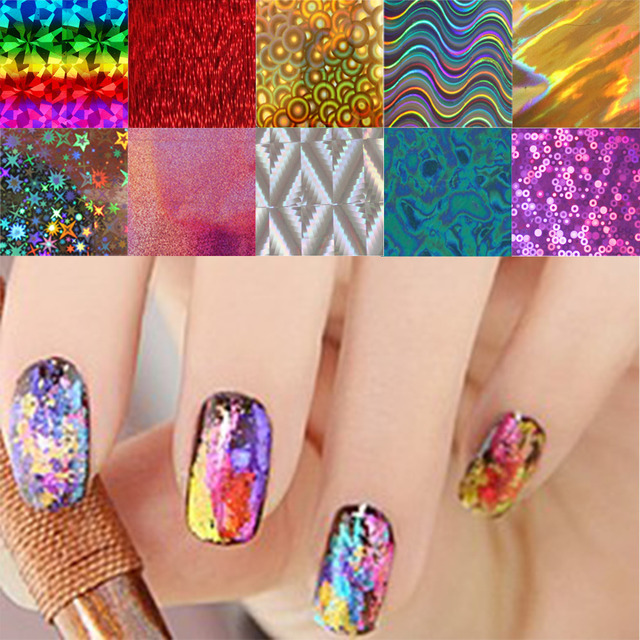 10pcs Lot Nail Art Transfer Foils Stickers Super Beautiful Gel Polish Wrap Mixed Designed