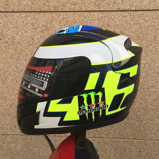 Nueva llegada marca valentino rossi no. 46 de la motocicleta casco de la cara llena del casco de carreras de karts motociclistas capacete casco de moto casco