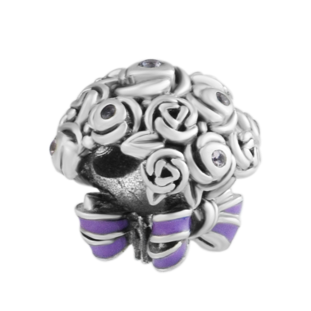 Celebration Bouquet Charm 100% 925 Sterling Silver Mixed Crystals & Purple Enamel Beads for Fit Charms Bracelets DIY FP753