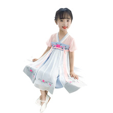 OLOEY 2019 Girls Dress Clothes Kids Dresses For Childrens Polyester Chinese Style Tang Suit Hanfu Cheongsam Trend
