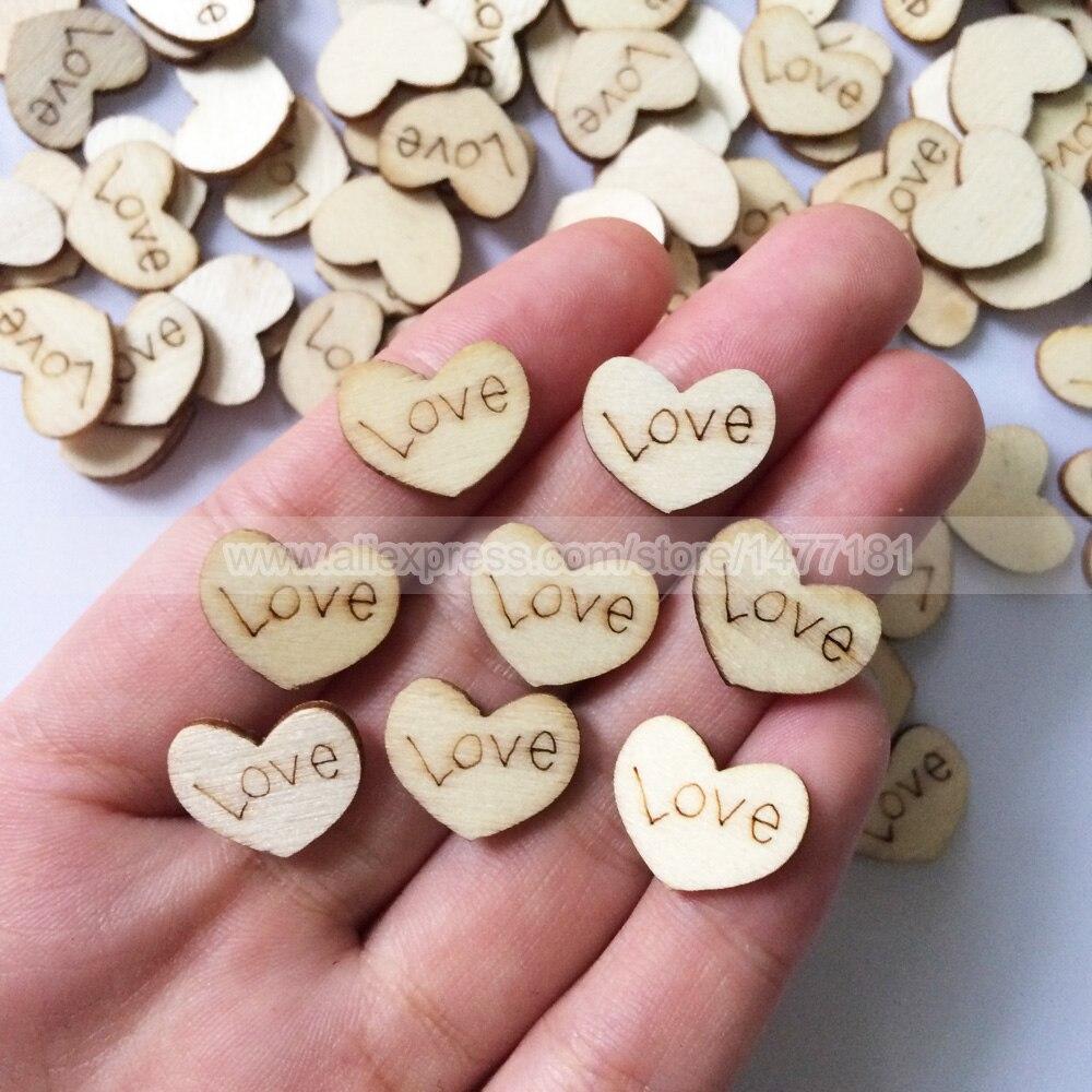 200pcs Rustic Wooden Mini LOVE Hearts Wedding Table Confetti Party ...