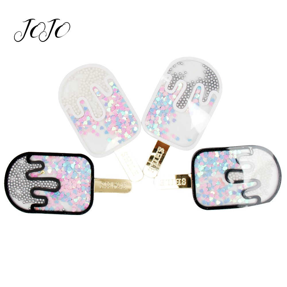 JOJO BOWS 1pc Quicksand Popsicle Patches For Craft Planar Resin Accessories For Apparel Decoration Materials DIY Craft Supplies
