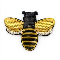 Yellow Bee Indian Silk Emboridered Patch Brooch India Silk Wire Handmade Embroidered Badge Fabric Patch for Fashion Clothing