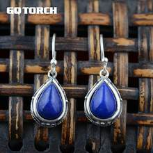 Thai Silver Natural Lapis Lazuli Drop Earrings Earrings Vintage Style Handmade Beatiful 925 Silver Fine Jewelry(China)