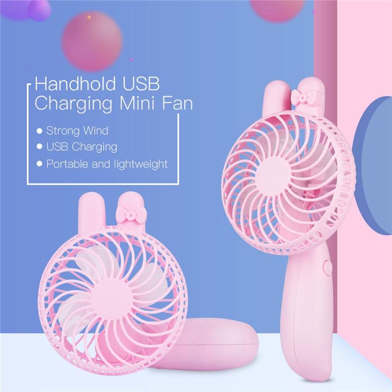 Lovely Portable Hand Fan Battery Operated USB Rechargeable Handheld Mini Fan Cooler Electric Personal Fans Hand Bar Desktop Fan