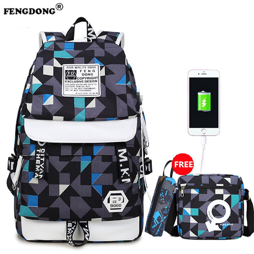 FENGDONG Waterproof Backpacks Male Brand Designer School Bag Back Pack Oxford USB Charge College Bags Youth Fashion Men Backpack fengdong men backpack oxford youth fashion brand usb charge designer back pack college bags school bag waterproof backpacks male