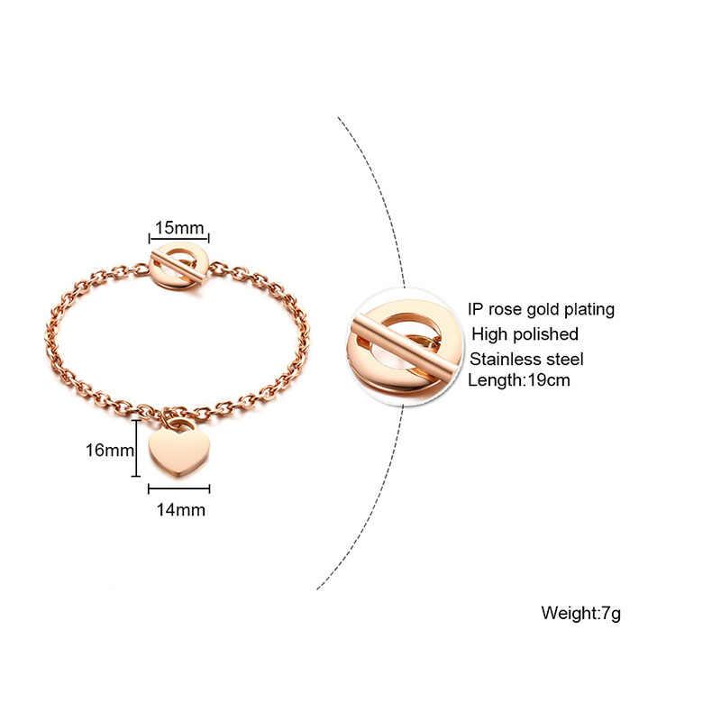 Vnox персонализированные подарки Сердце ID шарм браслеты для женщин Бесплатная гравировка имя нержавеющая сталь звено цепи браслеты