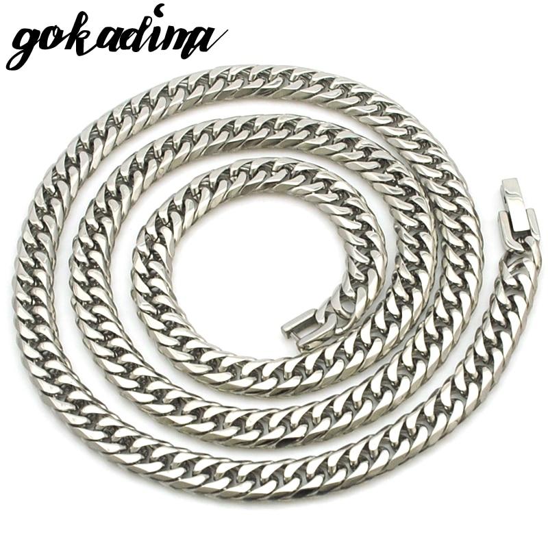 GOKADIMA 2017 új férfi nyaklánc lánc divat party rozsdamentes acélból készült ékszer ajándék 60cm 7mm, WN031
