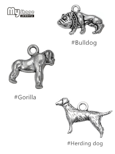my shape 20pcs/lot Animal Dog Charms For Jewelry Making