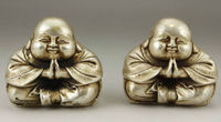 A Pair of Chinese Old White Copper Handwork Carving Favorite Buddha Monk Statues