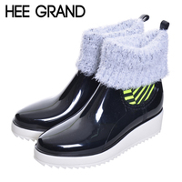 Woman Rain Boots Med Heel Platform Mixed Color Slip On Shoes Woman Mid Calf Fashion Rubber