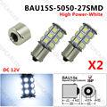 2PCS BAU15S 27 SMD 1156PY PY21W Blanco Indicator 5050 LED bulbs Xenon White Light 12V 24V