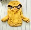 Осень новорожденных девочек пальто с капюшоном желтый полный одежды мода дети куртка 3-4-8 лет малыш пальто зимнее девушка куртка весна