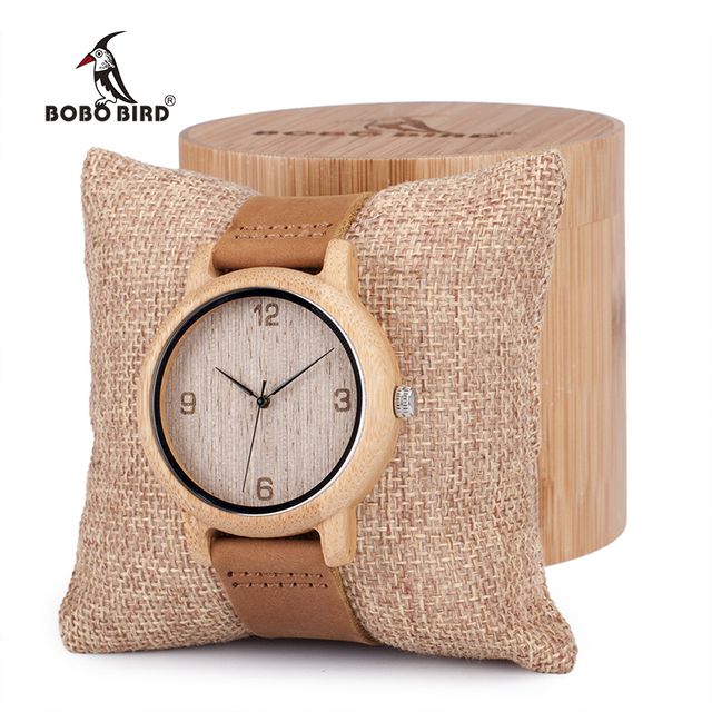 BOBO BIRD Womens Casual Antique Round Bamboo Wooden Watches men With Leather Str