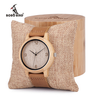 Bobobird Womens Casual Antique Round Bamboo Wooden Watches With Leather Strap Lady Watches Top Brand Luxury