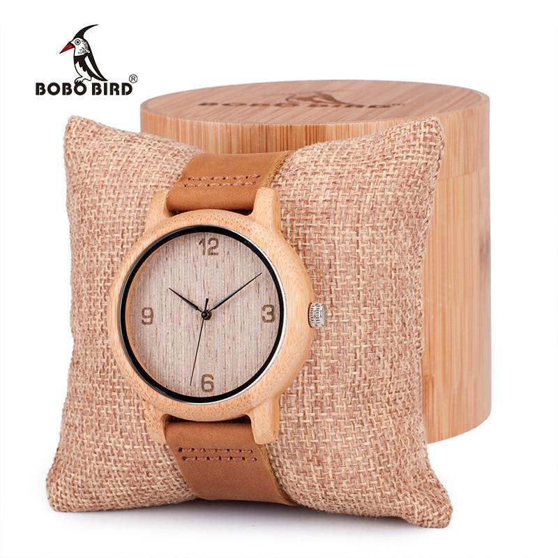 2e2f6025475 BOBO PÁSSARO Womens Casual Antigo De Bambu Redonda De Madeira Relógios  homens Com Pulseira De Couro Senhora Relógio De Pulso Marca Top de Luxo  relógio em ...
