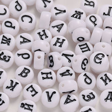 100PCS White Acrylic Mixed Russian Alphabet/Letter Flat Round Ponyd Beads diy For Jewelry Making 7x4mm