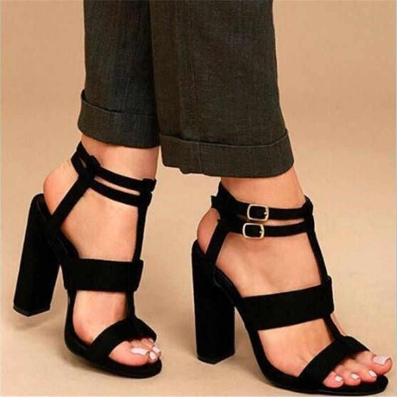 Caliente 2019 Sandalia Feminina verano gladiador tacones altos Peep Toe Sandalias Zapatos casuales Mujer Sandalias de plataforma a prueba de agua