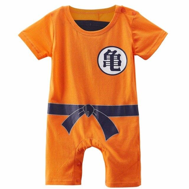 8b65ab88caf17 Baby Boys Goku Romper Dragon Ball Z Costume Short Sleeve Infant Playsuit  0-24M